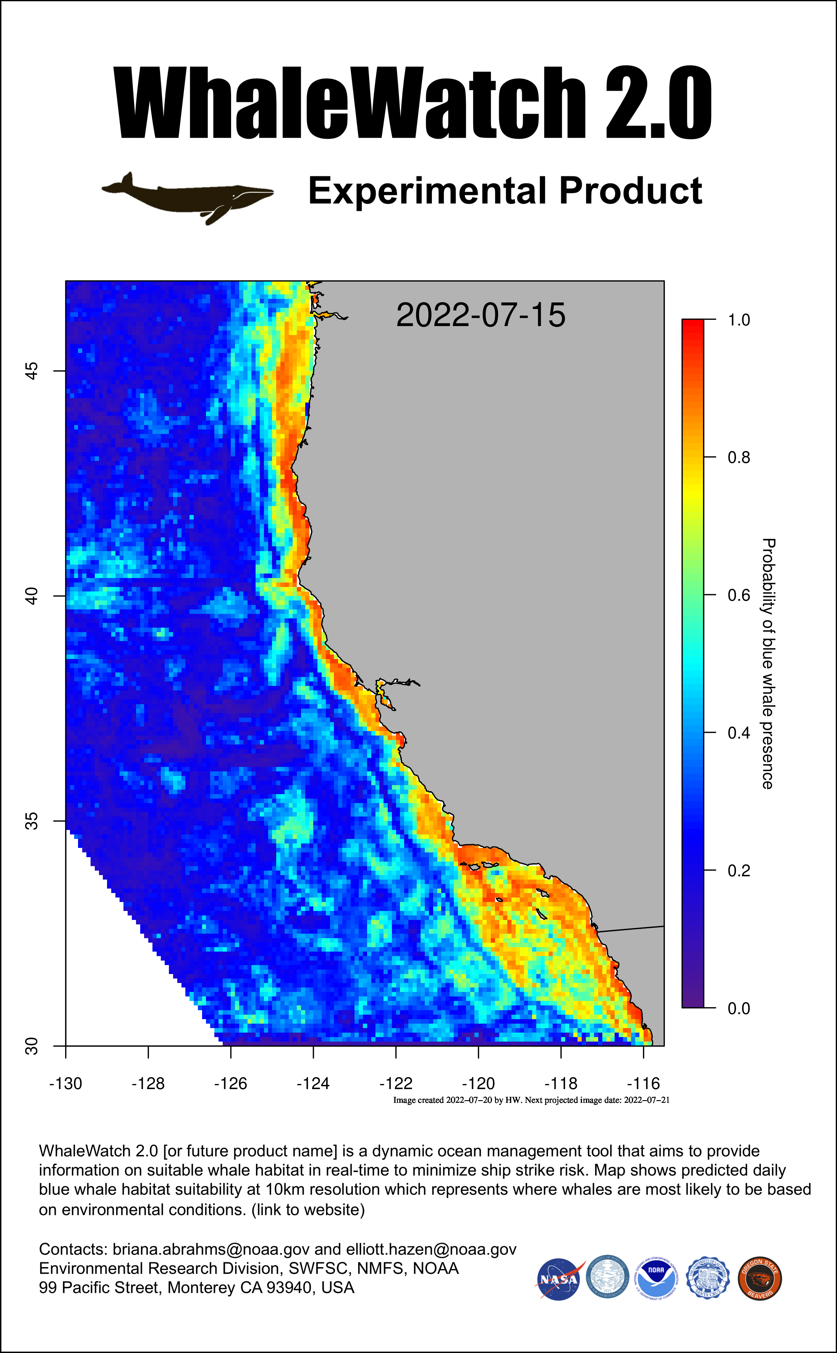 Mean sea surface temperature off Southern California - 3 days ago